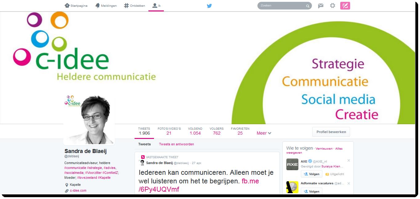 Twitter profiel, C-idee Communicatie, Sandra de Blaeij